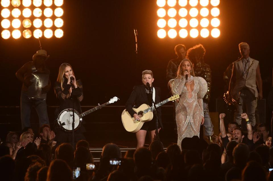 The Dixie Chicks (left, with Beyonce) found themselves blacklisted after speaking out against then-President George W. Bush and the Iraq war.
