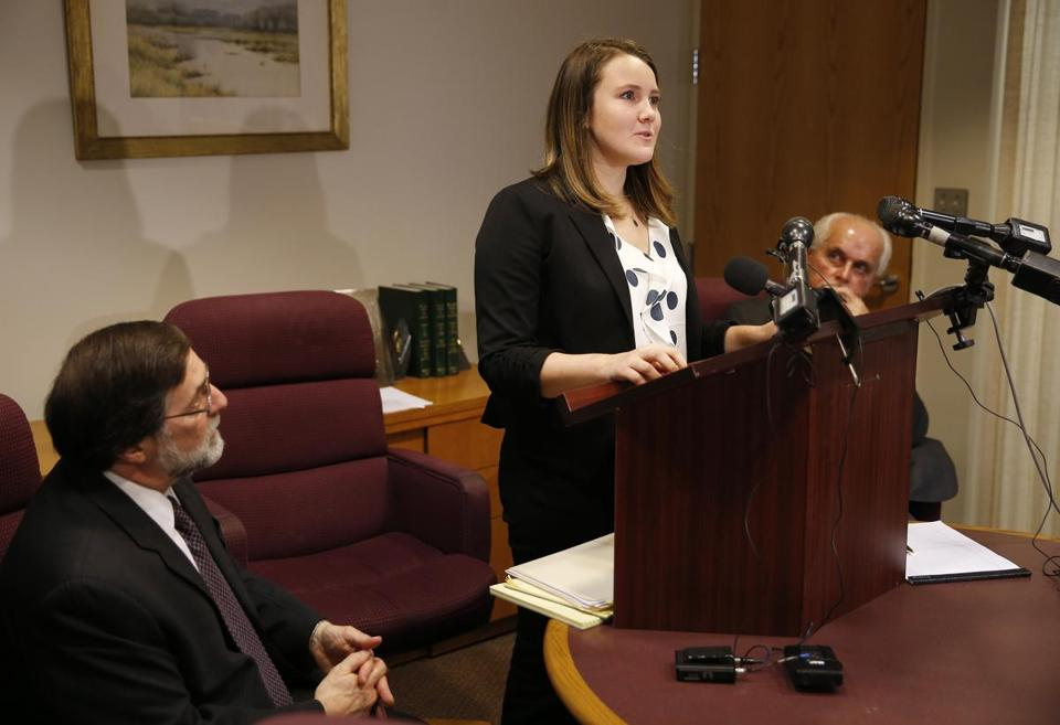 Northeastern University student Morgan Helfman spoke during a press conference at her lawyer's office about the alleged mishandling of her 2013 sexual assault case.