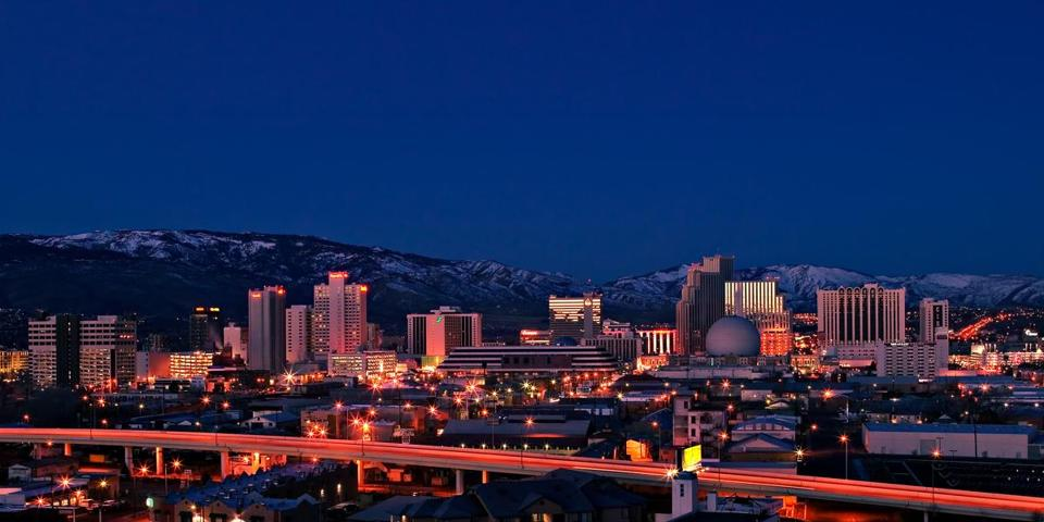 The Reno skyline at night.