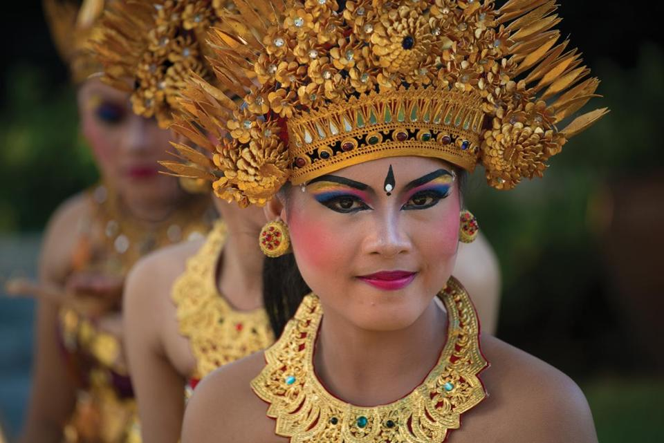 Participants in a traditional Balinese temple dance.