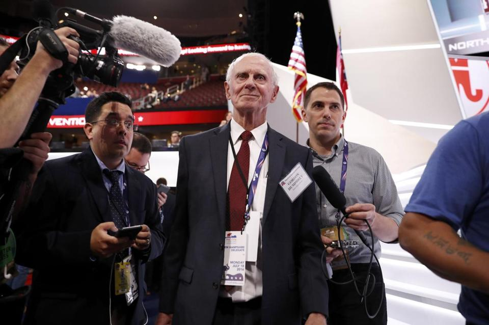 "Gordon Humphrey, shown at the Republican National Convention in Cleveland, was a leader in the ""Never Trump"" movement."