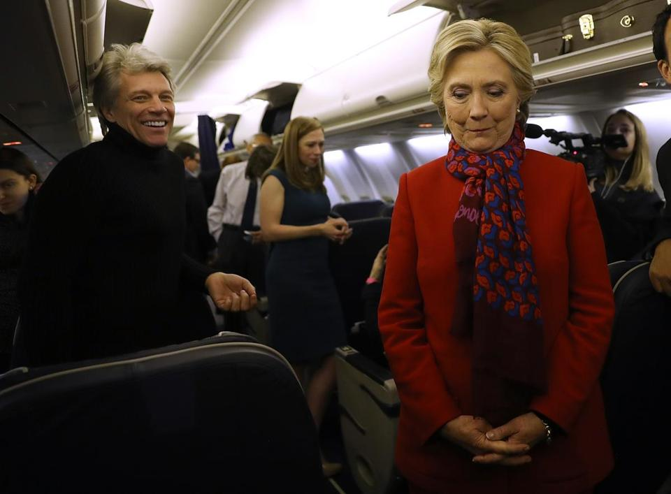 Democratic presidential candidate Hillary Clinton (right) tapped into the latest social media craze by