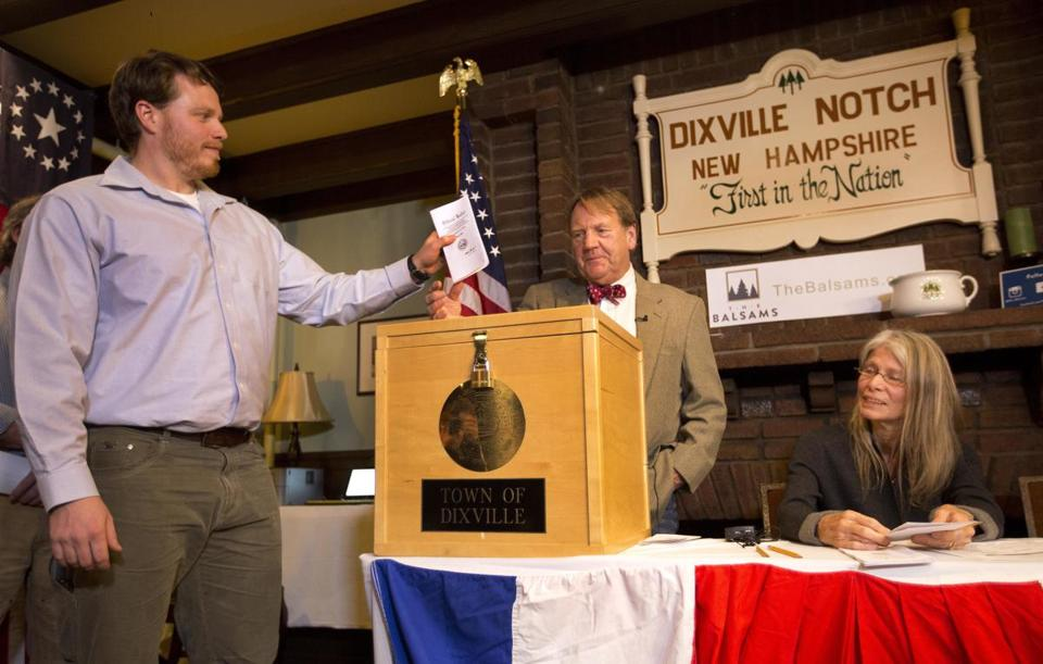 Clay Smith cast a vote early Tuesday in Dixville Notch, N.H.