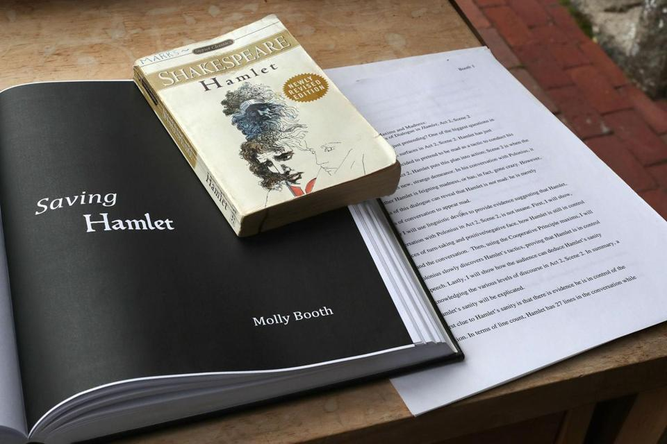 "A paperback copy of ""Hamlet"" belonging to Booth as well as her college thesis that led to her novel."