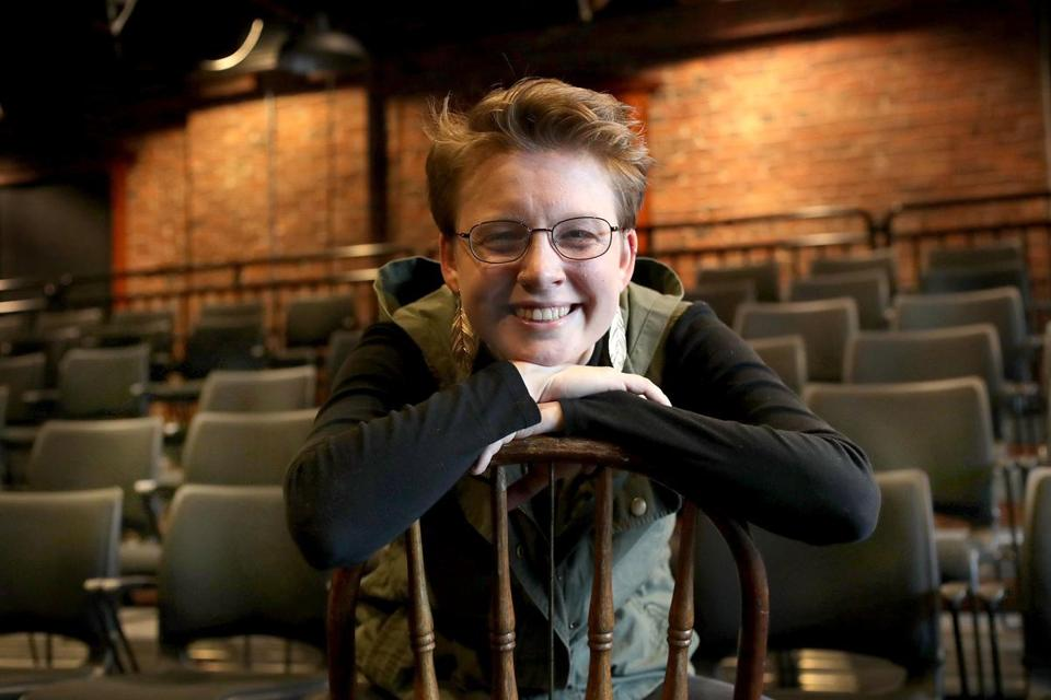 "Molly Booth (pictured at Marblehead's Little Theatre) went from college papers to the novel ""Saving Hamlet."""