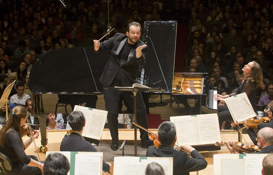 Hélène Grimaud (right) joined Andris Nelsons and the Boston Symphony Orchestra Tuesday night at Symphony Hall.