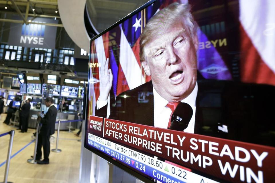 An image of President-elect Donald Trump appeared on a television screen on the floor of the New York Stock Exchange.