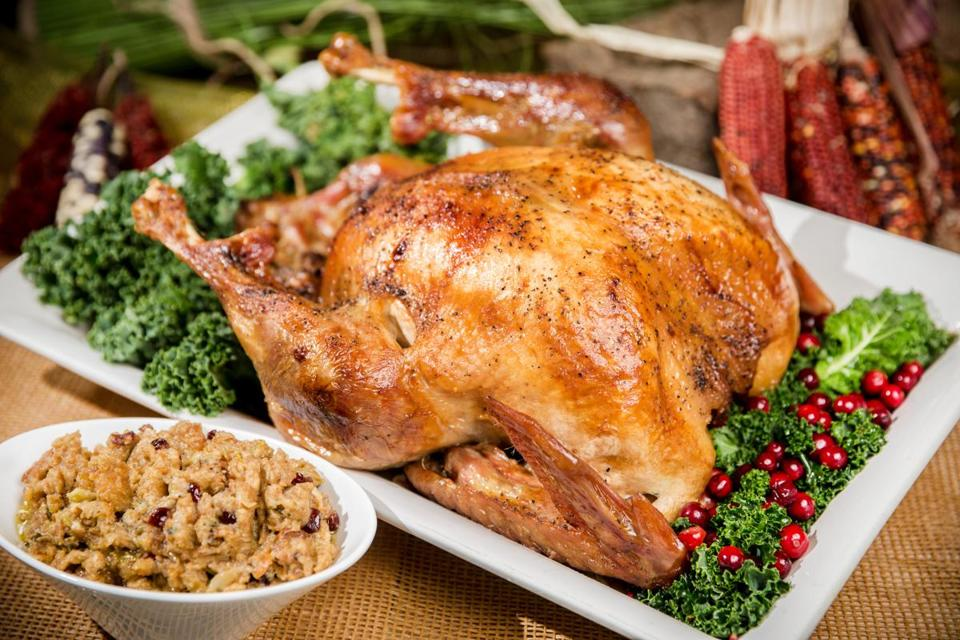 Maple-brined turkey and quahog stuffing, prepared by chef Sherry Pocknett at the Mashantucket Pequot Museum and Research Center.