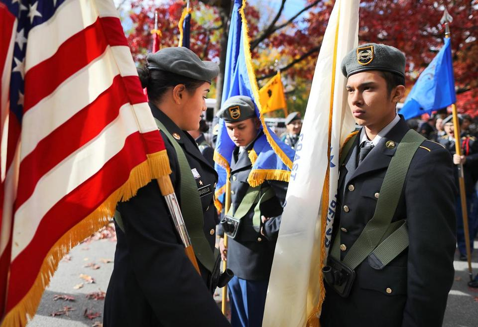 Boston-11/11/2016- Ceasar Jordan with theeast Boston Junior ROTC waits for the start of the annual Veterans Day parade that made it's way down Tremont Street to Boston City Hall Plaza. John Tlumacki/Globe Staff (metro)