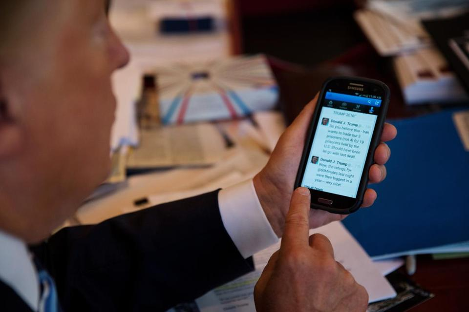 Donald Trump showed off the Twitter app on his phone during a meeting in Trump Tower last year.