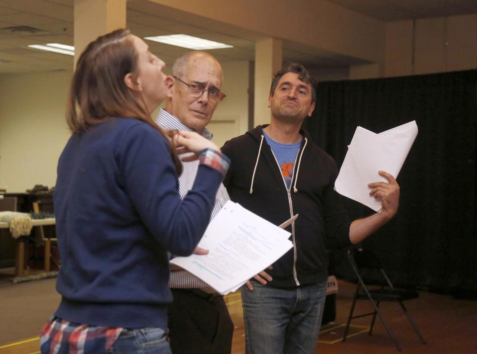 From left: Veronika Duerr, Joel Colodner, and John Gregorio at rehearsal.