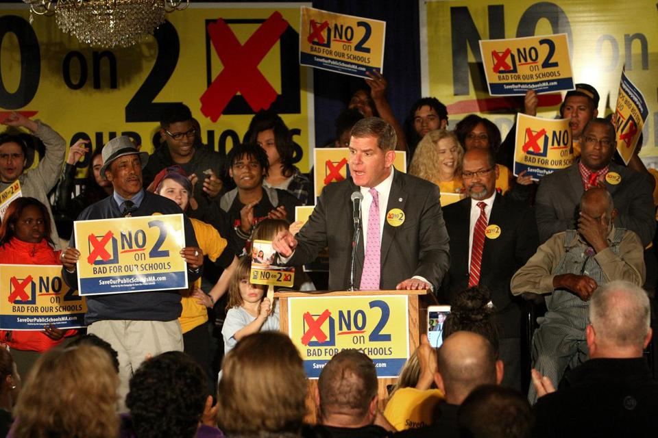 "Mayor Martin J. Walsh spoke Nov. 1 during a ""Vote No on Question 2"" rally in Dorchester."