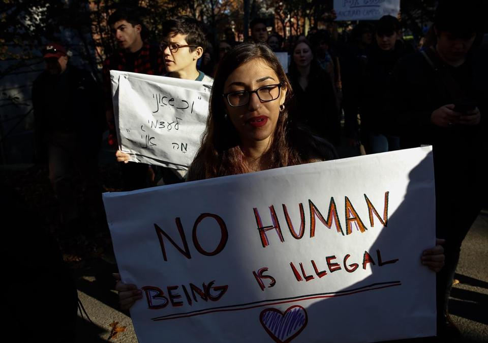 Protesters took part in a rally at Harvard on Monday to show support for undocumented students.