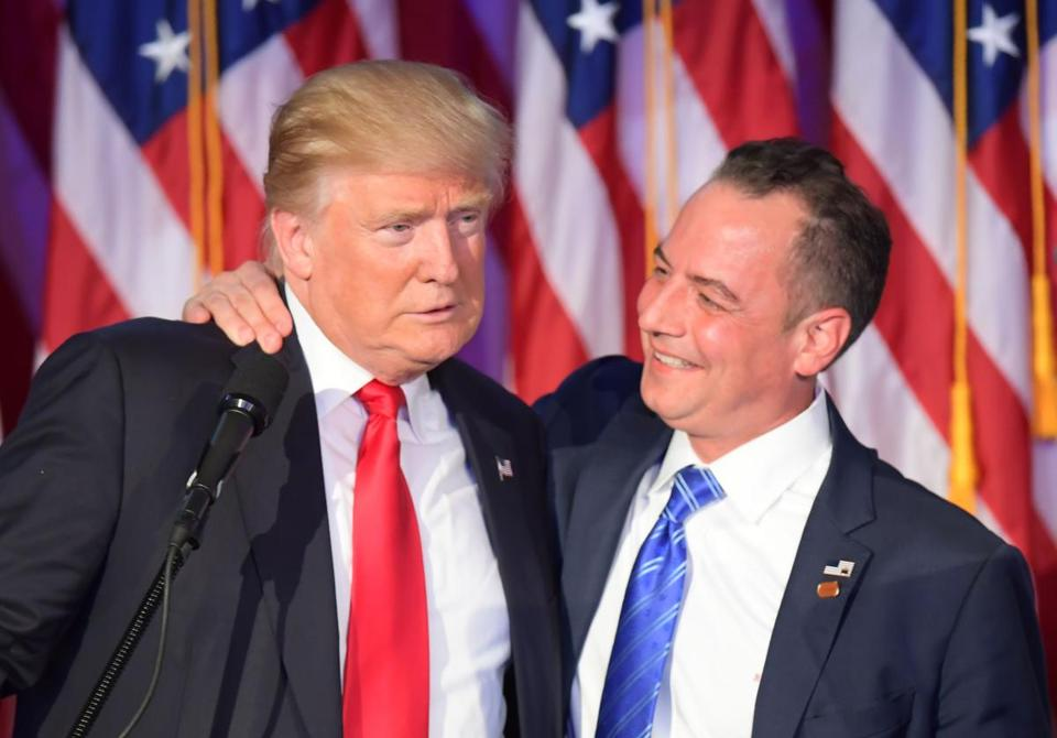 President-elect Trump with Reince Priebus on election night. Priebus will serve as chief of staff in Trump's White House.