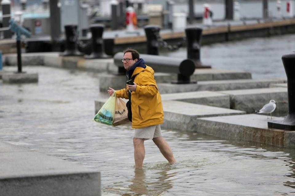 King tides, the very highest level of tides, flooded Boston's Long Wharf last year.
