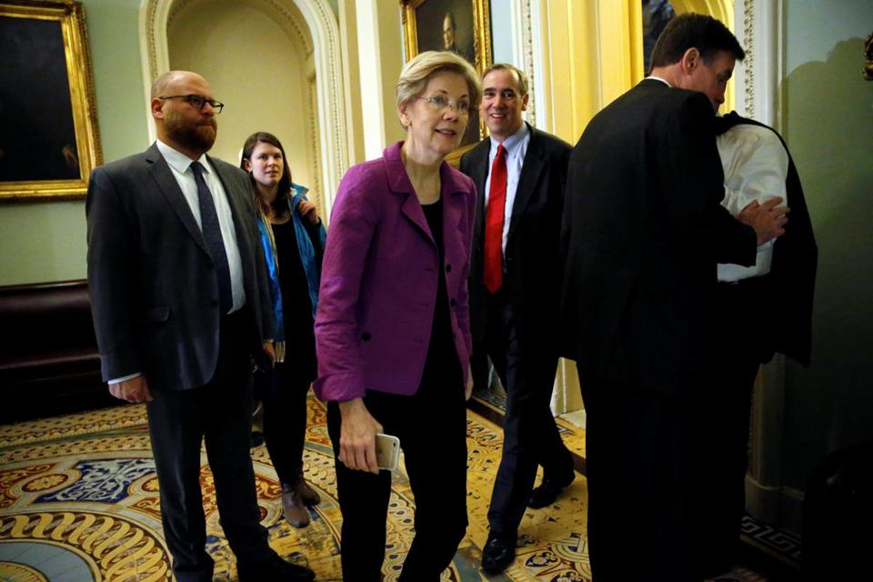 Senator Elizabeth Warren, trailed by Senator Jeff Merkley, arrived for the Senate Democratic party leadership elections Wednesday.