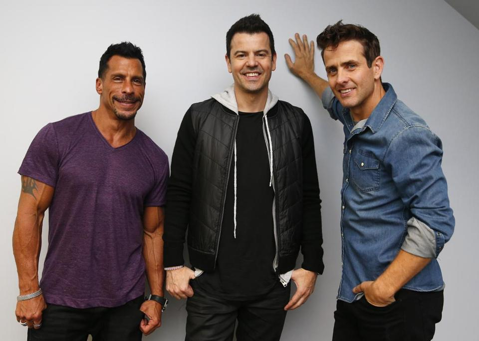 From left: New Kids on the Block members Danny Wood, Jordan Knight, and Joey McIntyre.