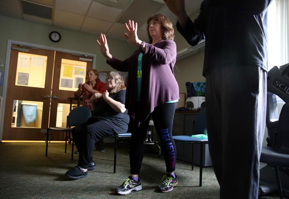Jodie Berry took part in a tai chi class at the Functional Restoration Program for Pain Management at the Spaulding Outpatient Center in Medford.