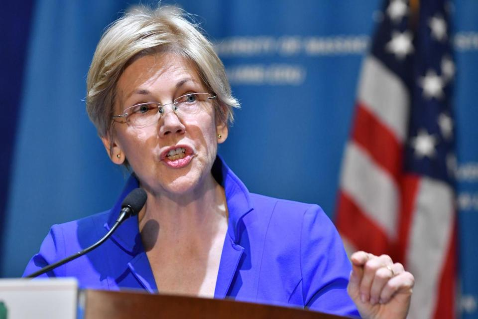 Elizabeth Warren delivered some reactions to the election of Donald Trump as she speaks at the New England Women's Policy Conference at UMass Boston. Josh Reynolds for The Boston Globe (Metro, Ebbert)