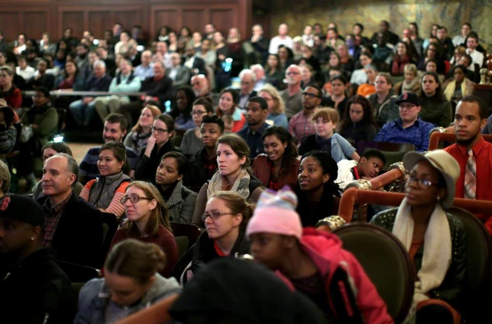 A diverse audience attended the racial dialogue session at Boston's Cutler Majestic Theatre. The event was packed.