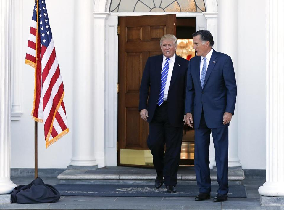 President-elect Trump and Mitt Romney walked together after Saturday's meeting in Bedminster, N.J.