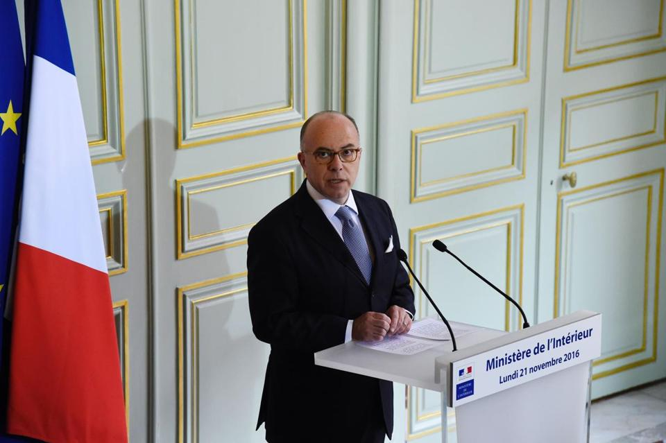 French Interior minister Bernard Cazeneuve gives a press conference on November 21, 2016 in Paris. Police have broken up a terror ring plotting an attack in France after arresting seven suspects in Strasbourg and Marseille, Cazeneuve said on November 21, 2016. / AFP PHOTO / BERTRAND GUAYBERTRAND GUAY/AFP/Getty Images