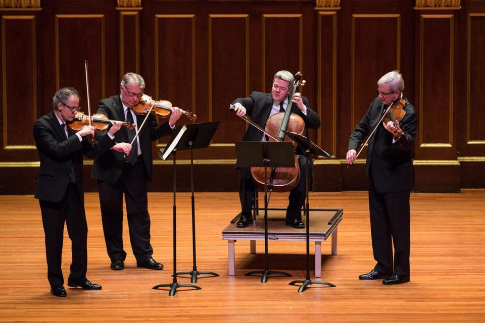 From left: Eugene Drucker, Philip Setzer, Paul Watkins, and Lawrence Dutton performed at Jordan Hall Sunday.