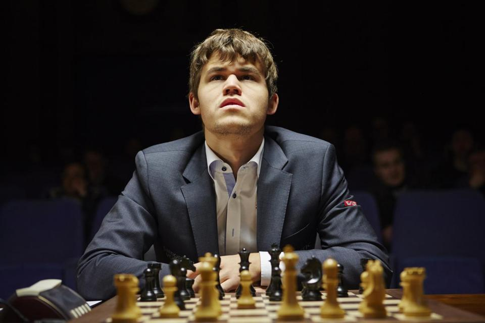 "Magnus Carlsen at the 2013 Chess Candidates Tournament in London, as seen in the 2016 documentary film ""Magnus,"" directed by Benjamin Ree."