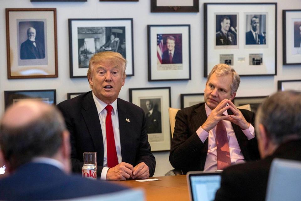 President Elect Donald Trump Left And New York Times Publisher Arthur Sulzberger Jr