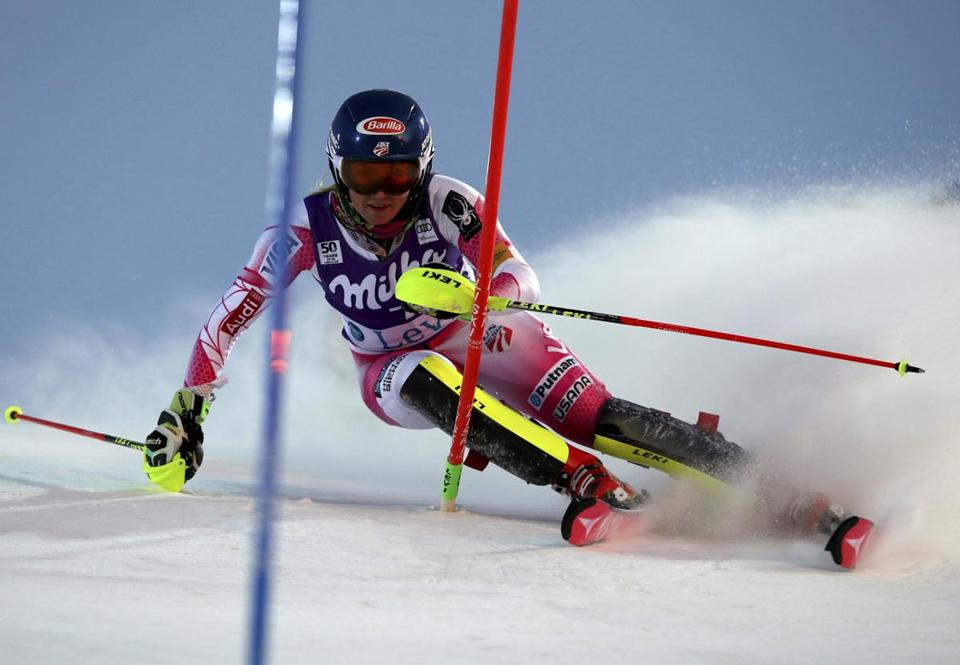 First placed Mikaela Shiffrin competes during the second run of an alpine skiing women's World Cup slalom, in Levi, Finland, Saturday Nov. 12, 2016. (AP Photo/Shinichiro Tanaka)