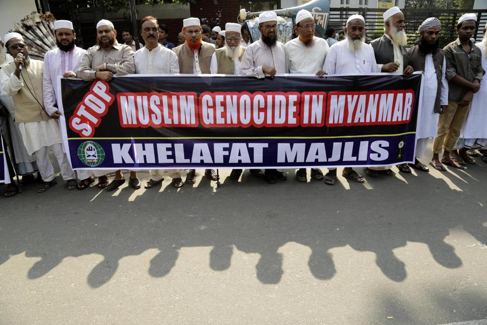 Members of the Khelafat Majlis party attended a protest against the recent attacks on the Rohingyas in Arakan in Myanmar, in Dhaka, Bangladesh, Tuesday.
