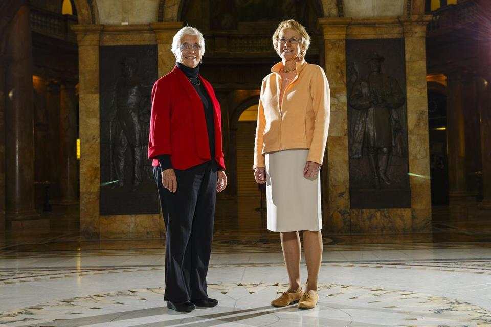 Boston, MA - 11/15/2016 - State Senator Pat Jehlen(L) and State Representative Ellen Story pose for a portrait at the Massachusetts State House in Boston, MA on November 15, 2016. (Keith Bedford/Globe Staff) Topic: Reporter: