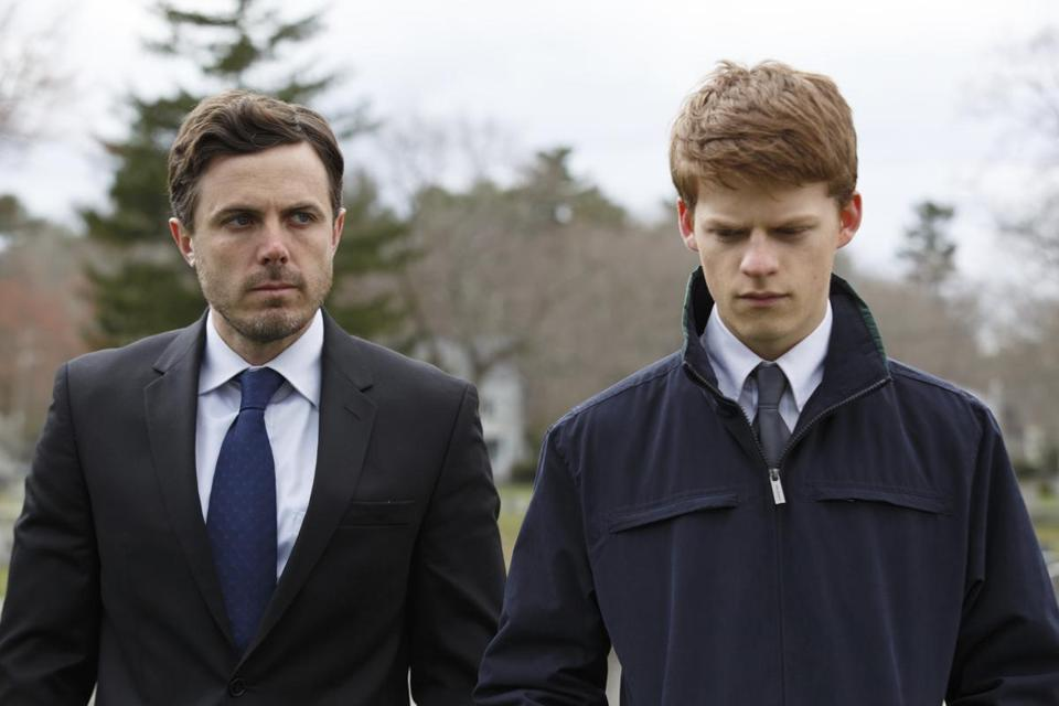 "In this image released by Roadside Attractions, Casey Affleck, left, and Lucas Hedges appear in a scene from ""Manchester By The Sea."" The film was nominated for a Film Independent Spirit Award for best feature on Tuesday, Nov. 22, 2016. The annual awards show will be held on Feb. 25, 2017. (Claire Folger/Roadside Attractions via AP)"