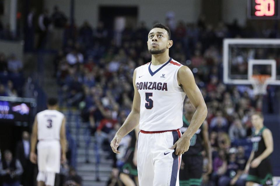 Gonzaga guard Nigel Williams-Goss (5) stands on the court during the first half of an NCAA college basketball game against Utah Valley in Spokane, Wash., Friday, Nov. 11, 2016.(AP Photo/Young Kwak)