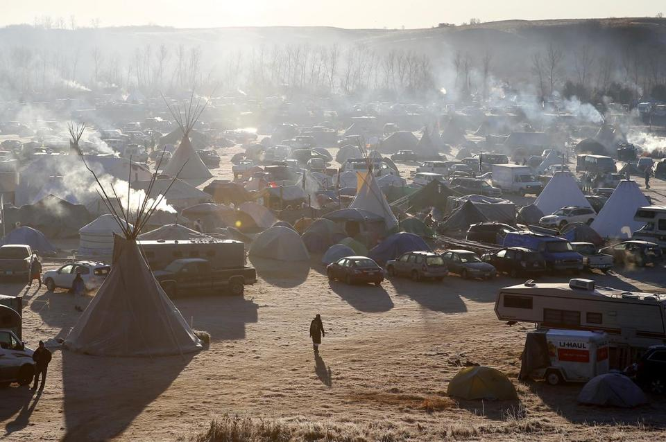 A camp near Standing Rock during an ongoing dispute over the building of the Dakota Access Pipeline.