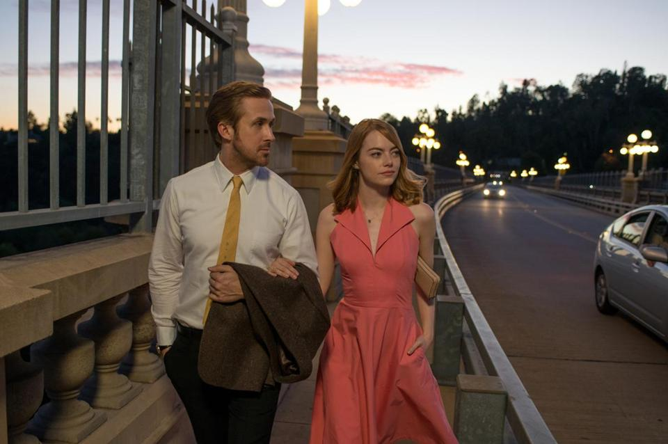 "Ryan Gosling and Emma Stone in Damien Chazelle's musical ""La La Land."""