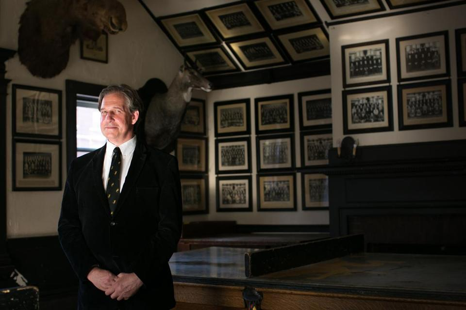 Rick Porteus, president of the graduate body of the Fly, one of the six remaining all-male final clubs at Harvard University, in the club's trophy room in Cambridge in June.