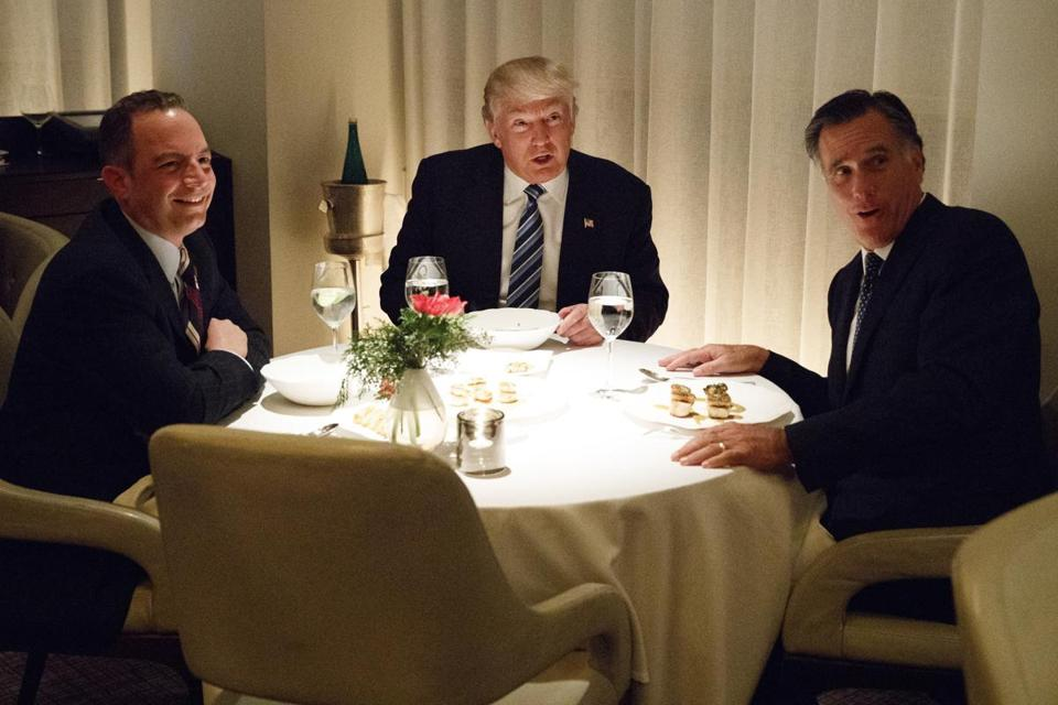 President-elect Donald Trump ate dinner with Mitt Romney (right) and Reince Priebus (left) at Jean Georges restaurant on Tuesday.