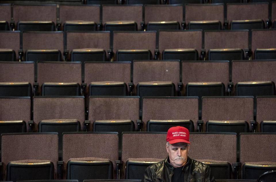 CINCINNATI, OH - DECEMBER 01: Guests listen as President-elect Donald Trump and Vice President-elect Mike Pence speak at U.S. Bank Arena on December 1, 2016 in Cincinnati, Ohio. Trump took time off from selecting the cabinet for his incoming administration to celebrate his victory in the general election. (Photo by Ty Wright/Getty Images)