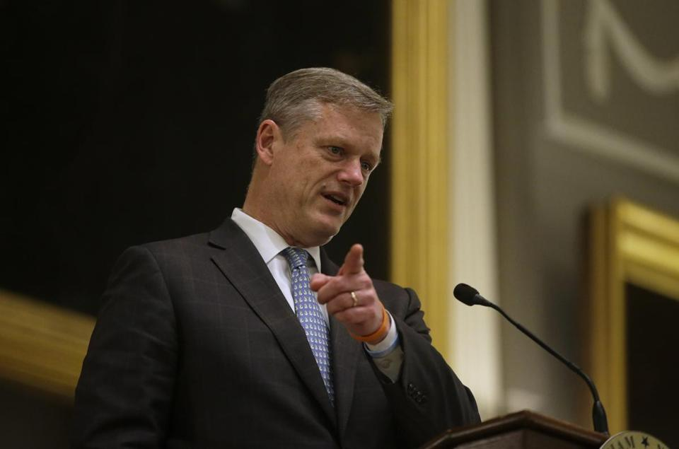 Massachusetts Gov. Charlie Baker addresses an audience Monday, Nov. 21, 2016, during a ceremonial swearing-in for Supreme Judicial Court justice Kimberly Budd at Faneuil Hall, in Boston. (AP Photo/Steven Senne)