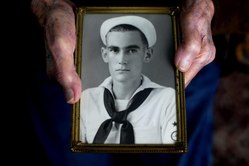 Greenleaf as a young sailor in the US Navy. Greenleaf, then 19, survived the attack on Pearl Harbor.