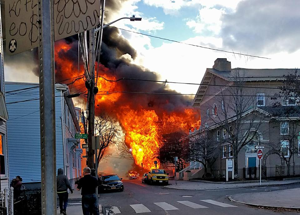 Firefighters battled a 10-alarm fire on Berkshire and York streets in Cambridge on Saturday.