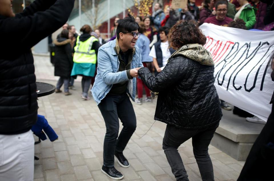 "Rodrigo Saavedra and Gloribell Mota took part in the ""Salsa Shutdown"" for immigrant rights on Saturday."