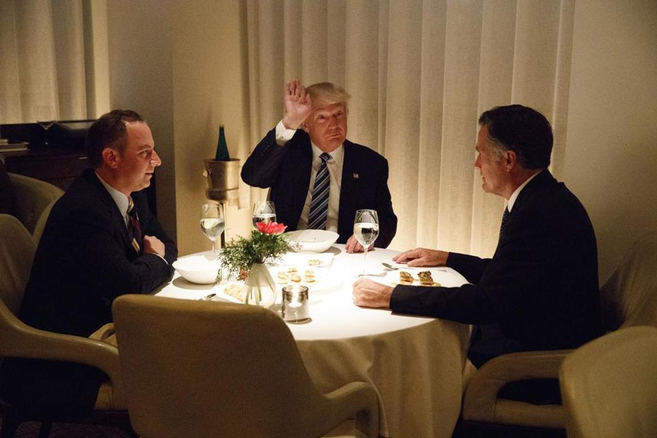 From left: Reince Priebus, President-elect Donald Trump, and Romney at last week's dinner.