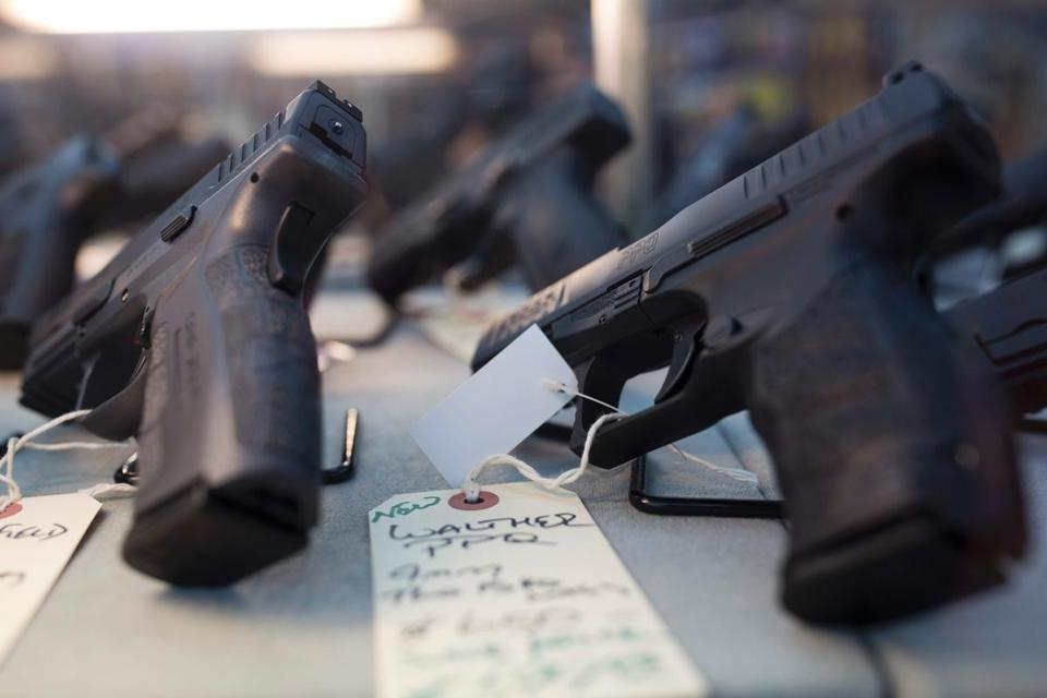 Hand guns for sale at a gun shop in Merrimack, N.H.