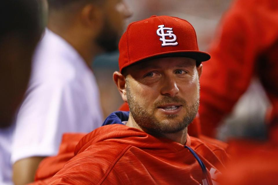 St. Louis Cardinals' Matt Holliday is seen in the dugout during the fifth inning of a baseball game against the Pittsburgh Pirates, Friday, Sept. 30, 2016, in St. Louis. (AP Photo/Billy Hurst)