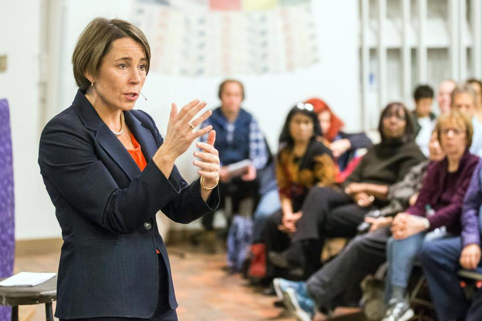 11/19/2016 ARLINGTON, MA Attorney General Maura Healey (cq) speaks to a large crowd during a post-election town hall held at the First Parish Unitarian Universalist Church in Arlington. (Aram Boghosian for The Boston Globe)