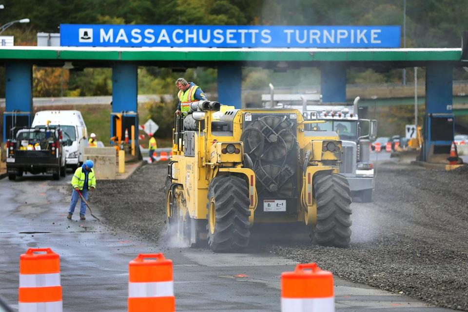 Officials said the first phase of demolition work on the Massachusetts Turnpike toll plazas was completed ahead of schedule.