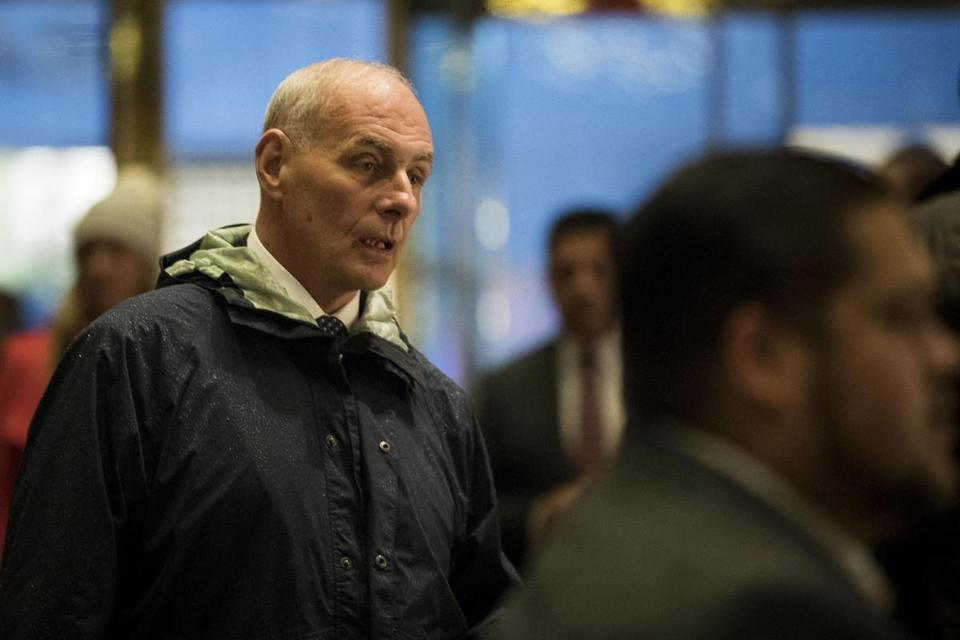 NEW YORK, NY - NOVEMBER 30: Retired Marine Corps General John Kelly arrives at Trump Tower, November 30, 2016 in New York City. President-elect Donald Trump and his transition team are in the process of filling cabinet and other high level positions for the new administration. (Photo by Drew Angerer/Getty Images)