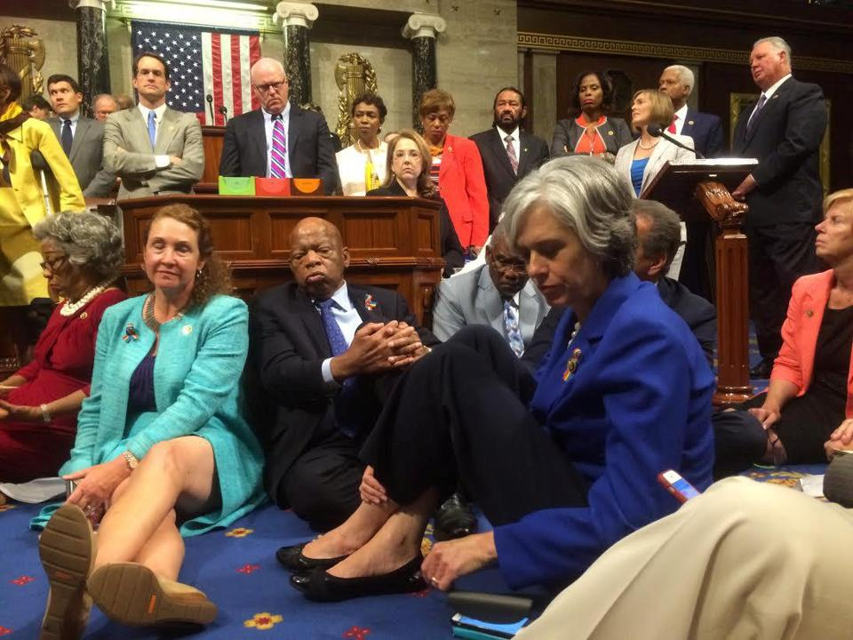 "A photo shot and tweeted from the floor of the U.S. House of Representatives by U.S. House Rep. Katherine Clark shows Democratic members of the House staging a sit-in on the House floor ""to demand action on common sense gun legislation"" on Capitol Hill in Washington, United States, June 22, 2016. U.S. Rep. Katherine Clark/Handout via Reuters. ATTENTION EDITORS - THIS IMAGE WAS PROVIDED BY A THIRD PARTY. EDITORIAL USE ONLY. TPX IMAGES OF THE DAY"